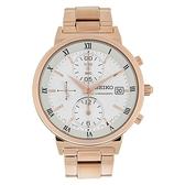 【台南 時代鐘錶 SEIKO】精工 CS系列 SNDV34P1 羅馬字 鋼錶帶 三眼計時女錶 36mm 玫瑰金 7T92-0VP0K