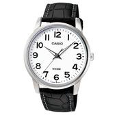 【CASIO】 簡潔俐落真皮錶帶紳士錶-數字白面(MTP-1303L-7B)