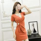 V領修身顯瘦包臀裙低胸短袖性感夜場綁帶連衣裙