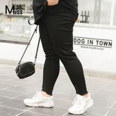 Miss38-(現貨)【A02239】大尺碼牛仔長褲 顯瘦黑色 後腰鬆緊 褲腳破洞褲 小腳褲 內搭褲-中大尺碼女裝