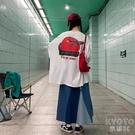 韓版大版t恤女長袖寬鬆港風學生2020新款潮中長款打底上衣 【快速出貨】