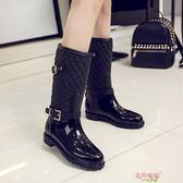 正韓夏季時尚馬丁雨鞋女中筒水靴防水防滑雨鞋雨靴女平底水鞋膠鞋