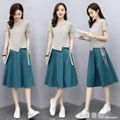 時尚棉麻洋裝套裝女裝新款夏裝韓版顯瘦小個子洋氣減齡裙子 卡布奇诺