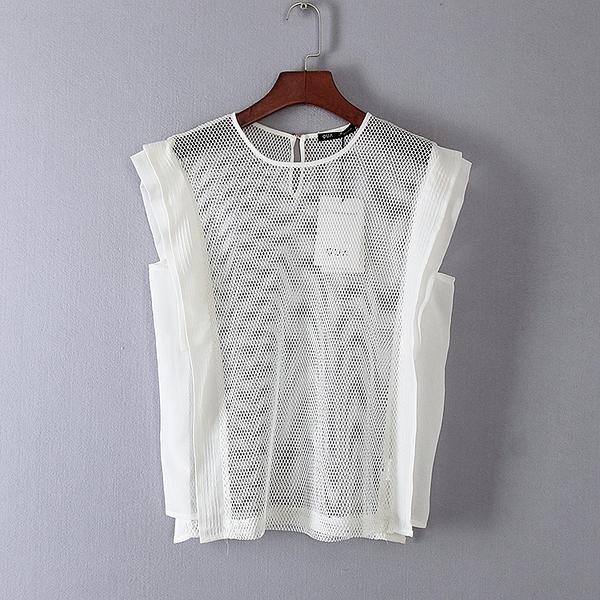 [超豐國際]娃春夏裝女裝白色網狀百搭休閑T恤 31133(1入)