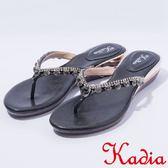 ★2017春夏新品★kadia.華麗寶石水鑽夾腳拖鞋(7121-95黑)