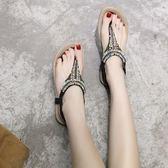 沙灘鞋女夏海邊渡假休閒舒適平底夾腳鞋波西米亞串珠涼鞋大碼 名購居家