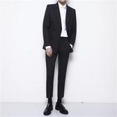 條紋韓版英倫修身雙排扣西服套裝