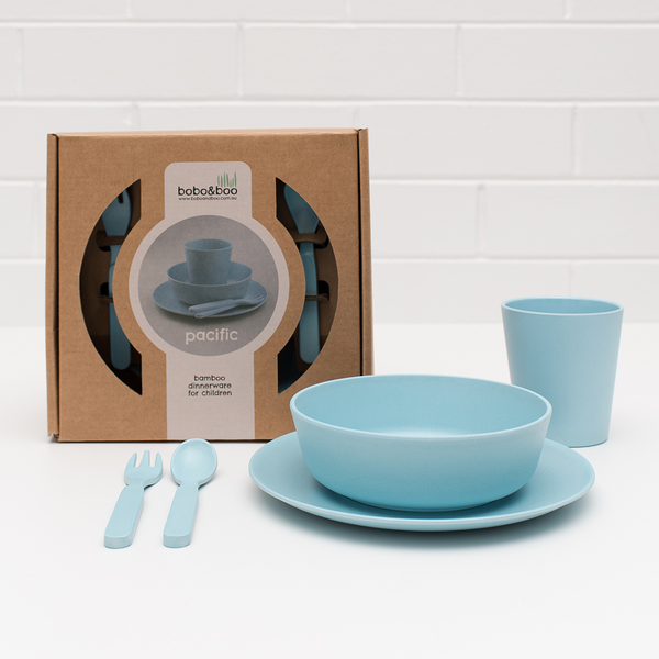 澳洲bobo&boo 竹纖維馬卡龍餐具組-天空藍