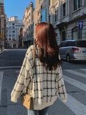 針織外套仿水貂絨毛衣開衫女寬鬆慵懶風2020新款秋季韓版格子毛線針織外套 貝芙莉