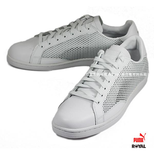 PUMA 新竹皇家 SUMMER SHADE 白色 皮質  洞洞 運動休閒鞋 男款.A8839