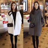毛呢外套  韓版修身女裝毛呢外套時尚女大碼中長款呢子大衣