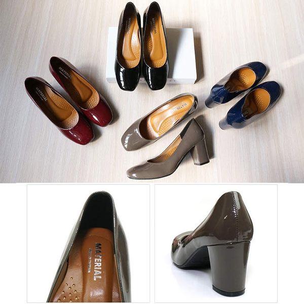 跟鞋.MIT亮皮方頭粗高跟鞋.黑/灰/藍/酒紅【鞋鞋俱樂部】【028-5500】