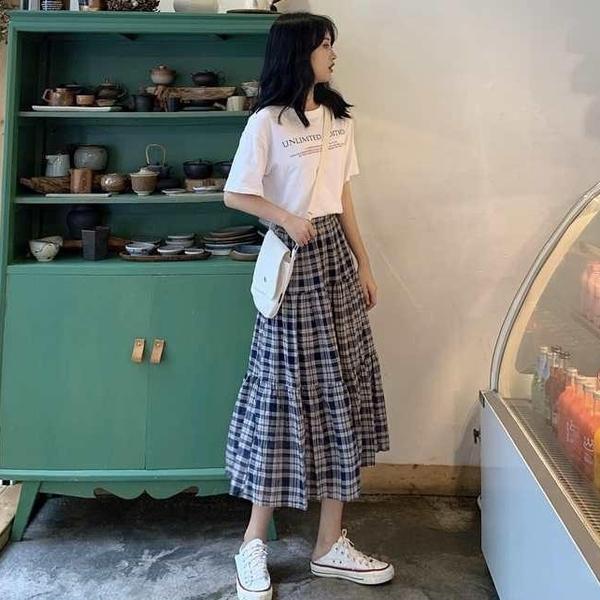EASON SHOP(GQ0923)韓版森林系撞色格紋格子鬆緊腰收腰下襬傘狀魚尾裙長裙女高腰過膝裙半身壓褶A字裙