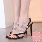 高跟涼鞋 果凍襯底大顆水鑽點綴細跟 高跟鞋 晚宴鞋 新娘鞋 大尺碼35-40*Kwoomi-A62