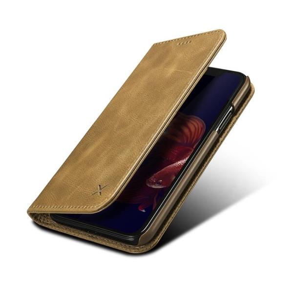 手機配件 頭層真皮適用iPhone X商務手機皮套翻蓋插卡蘋果XS Max牛皮保護套手機殼 手機套 皮套