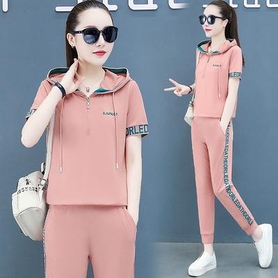 運動套裝女夏季新款韓版休閑跑步氣質減齡連帽短袖薄款兩件套T122-D1胖妞衣櫥