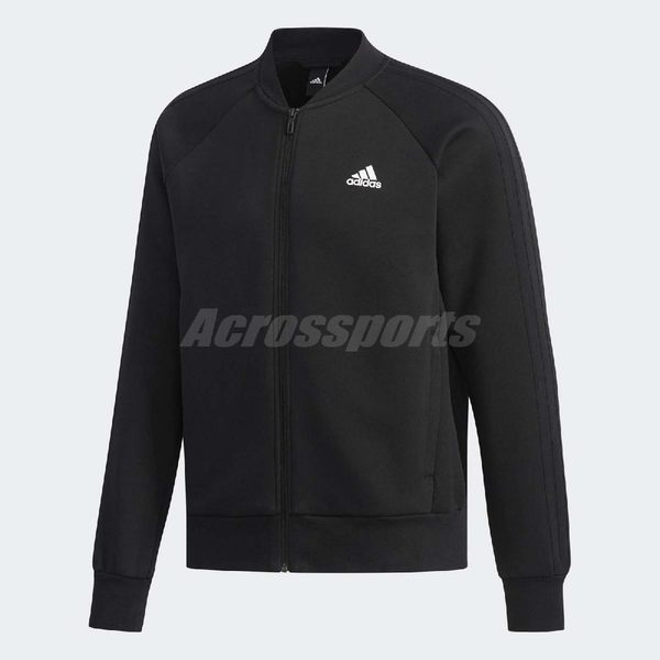adidas 外套 Comm Bomber 3S Jacket 男款 長袖 上衣 拉鍊 素面 夾克 黑 【PUMP306】 DW4655