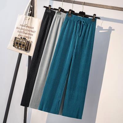 寬褲~縮腰直筒褲~大碼女裝胖妹妹薄款高腰百褶九分垂感2F079E衣時尚