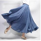 民族風長裙 棉麻半身長裙大碼民族風復古學生文藝下中長款裙子
