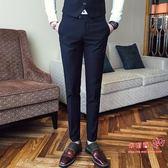 西裝褲 正裝西褲男士韓版修身英倫小腳褲免燙商務職業褲子薄款西裝褲長褲 2色29-38