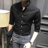 雙十二年終盛宴五分袖襯衫男夏季黑色商務修身短袖襯衣韓版中袖寸休閒七分袖潮流  初見居家