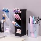 筆筒-無印風磨砂半透明斜插式筆筒 圓筒收納盒 【AN SHOP】