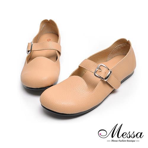 圓頭包鞋-Messa米莎 MIT舒適柔軟魔鬼氈釦帶內真皮圓頭包鞋-棕色