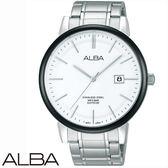 【名人鐘錶】ALBA 日系簡約黑框白面日期顯示鋼表・學生錶・公司貨・AS9907X1・42mm×藍寶石水晶鏡面