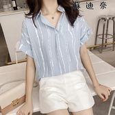 襯衫短袖上衣棉麻條紋襯衣潮 SDN-4244