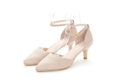 MICHELLE PARK 優雅魅力真皮羊皮釦帶繫踝金屬跟鞋-膚