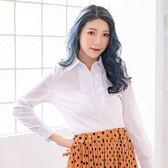 襯衫--甜心OL氣質美-胸前荷葉邊條紋設計長袖襯衫(白.粉M-4L)-I97眼圈熊中大尺碼◎