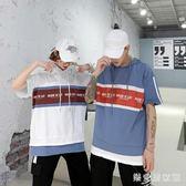 情侶連帽T恤夏裝2019新款韓版連帽短袖t恤女寬鬆假兩件上衣 QG24744『樂愛居家館』