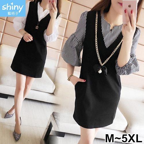 【V2286】shiny藍格子-優雅知性‧假兩件拼接中長袖連身裙