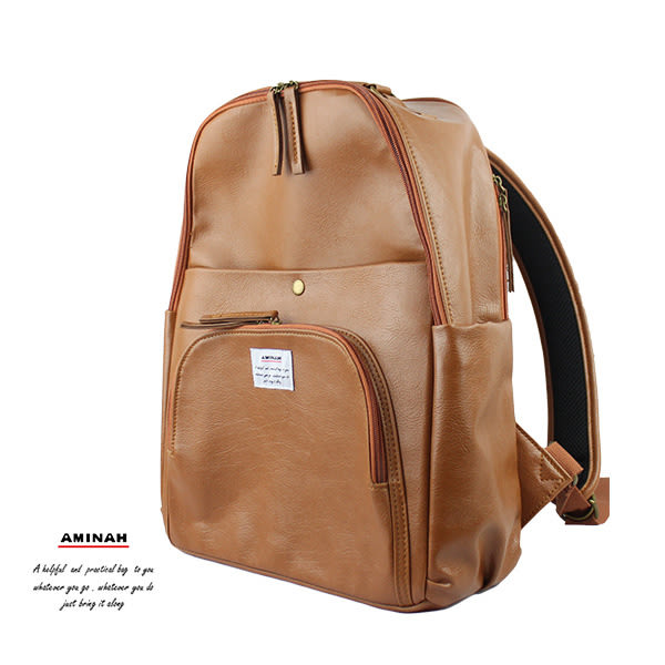 棕色多層次後背包 (設筆電層) AMINAH~【am-0298】