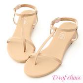 D+AF 純真夏氛.簡約T字線條低跟涼鞋*杏