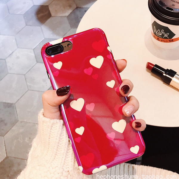 【SZ25】iphone X手機殼 清新少女風紅色愛心 藍光鐳射 軟硅膠 iPhone 7/8 plus手機殼 i6s手機殼