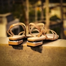 一字帶羅馬粗跟女時裝涼鞋2021年新款女時尚潮流夏中跟仙女風鞋子 滿天星