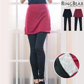 質感假兩件--輕柔雕塑美腿窄裙後貼口袋內刷毛假兩件式內搭褲(黑.紅XL-4L)-P123眼圈熊中大尺碼