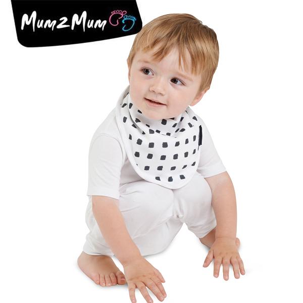 紐西蘭 MUM 2 MUM 雙面竹纖維棉機能口水巾圍兜 水彩方塊/星星
