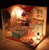 diy小屋手工制作微縮房子模型女孩玩具創意生日禮物男女可發聲  琉璃美衣