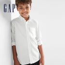 Gap男童 基本款純棉柔軟兒童長袖襯衫 柔軟翻領襯衫 699648-柔和白