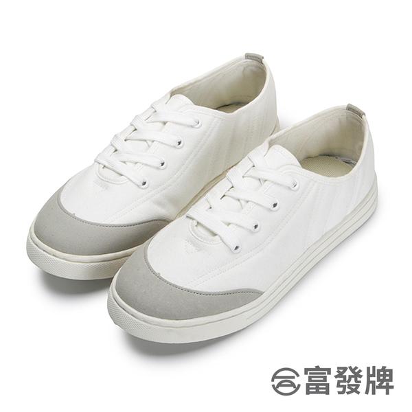 【富發牌】拼色絎縫綁帶小白鞋-白  1CQ83