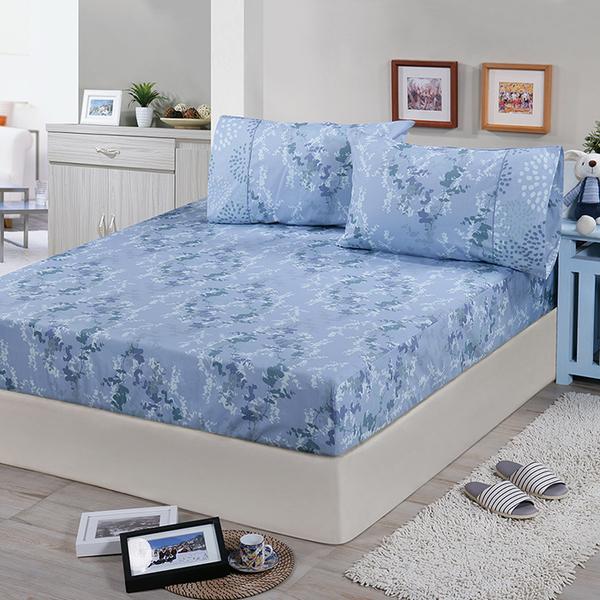 【FITNESS】精梳棉單人床包+枕套二件組-律彌爾(藍)_TRP多利寶