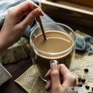 網紅大口透明馬克杯ins玻璃杯咖啡杯帶把手勺子可愛女日系水杯子 3C優購