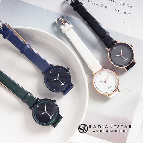 MEIBIN恆星下的約定簡約點鑽皮革手錶【WM1060L】璀璨之星☆