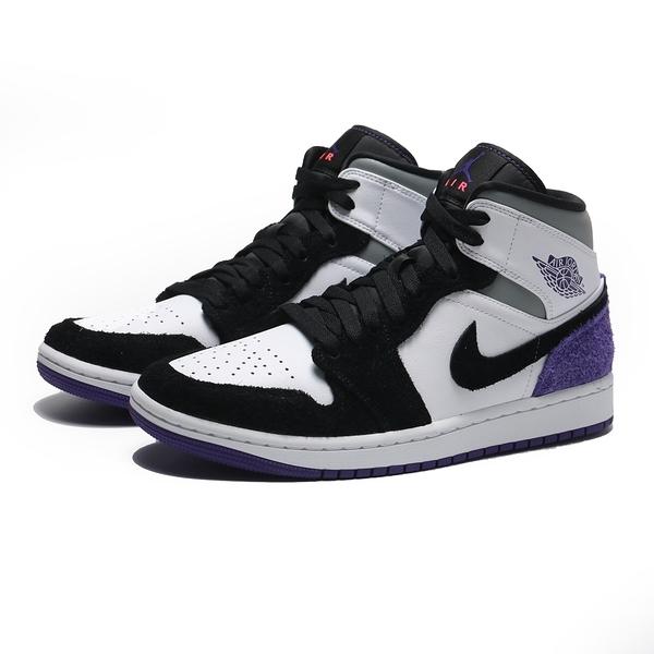 NIKE 籃球鞋 AIR JORDAN 1 MID SE VARSITY PURPLE 8孔 白紫黑 男 (布魯克林) 852542-105