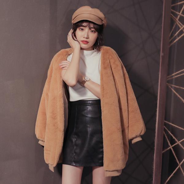 韓系寬鬆絨毛外套