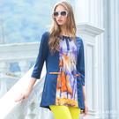 【岱妮蠶絲】抽象流行開襟七分袖蠶絲上衣