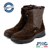 【IMAC】時尚義大利菱格設計款毛飾低跟女靴  深咖啡(207999-DBR)