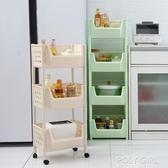 行動置物架 百露帶輪廚房置物架蔬菜水果收納架落地儲物浴室衛生間行動儲物筐 ATF polygirl